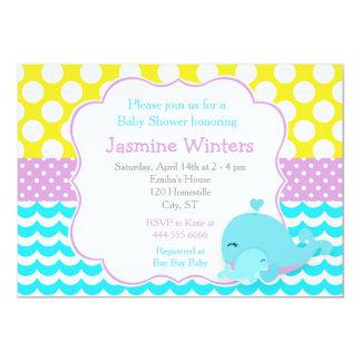 Niedliche Baby-Wal-blauer Jungen-Baby-Dusche 12,7 X 17,8 Cm Einladungskarte