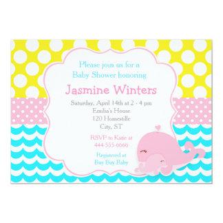 Niedliche Baby-Wal-Rosa-Mädchen-Baby-Dusche 12,7 X 17,8 Cm Einladungskarte