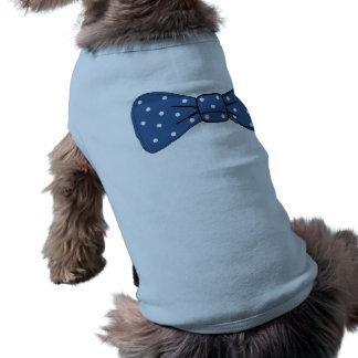 Niedliche Behälter-Spitze mit blauem Bogen Ärmelfreies Hunde-Shirt