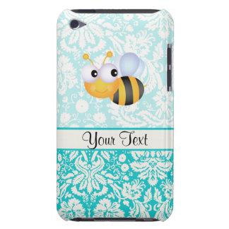 Niedliche Biene; Aquamarines Damast-Muster iPod Case-Mate Hülle