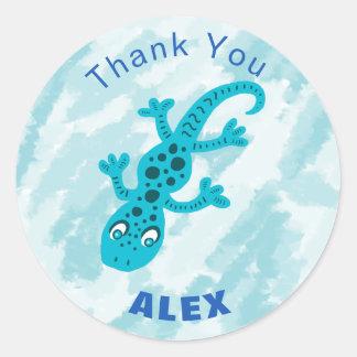 Niedliche blaue Gecko-Eidechse danken Ihnen Namens Runder Aufkleber