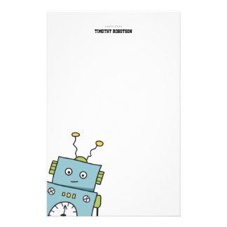 Niedliche blaue Hand gezeichneter Roboter Briefpapier