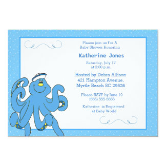 Niedliche blaue Kraken-Baby-Duschen-Einladung 12,7 X 17,8 Cm Einladungskarte