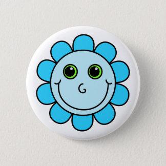 Niedliche blaue Smiley-Blume Runder Button 5,7 Cm