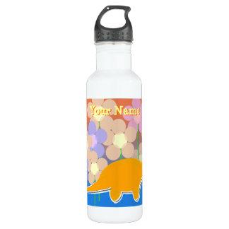 Niedliche Blumen-Dinosaurier-Flasche Edelstahlflasche