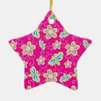 Niedliche Blumen, Libellen und Wirbel auf Rosa Keramik Stern-Ornament