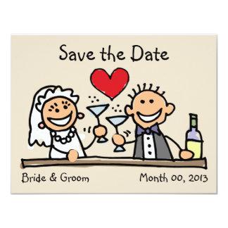 Niedliche Braut-und Bräutigam-Save the Date Karten 10,8 X 14 Cm Einladungskarte