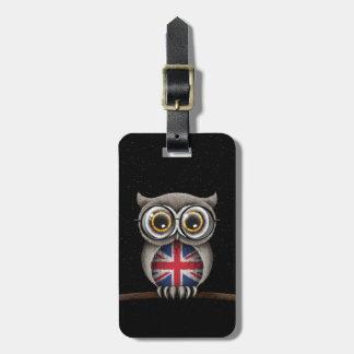Niedliche britische Flaggen-Eulen-tragende Gläser Adress Schild