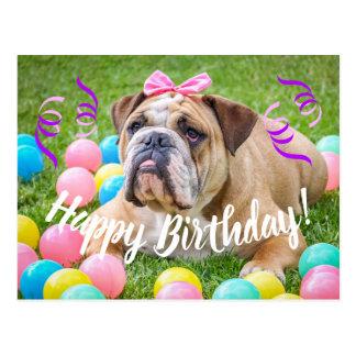 Niedliche Bulldoggen-alles Gute zum Geburtstag Postkarte