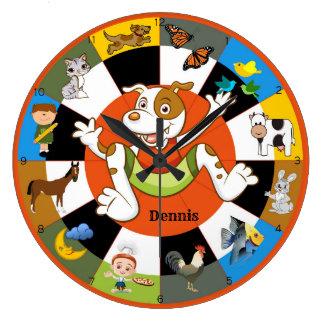 Niedliche bunte Kindertierwand-Uhr Große Wanduhr