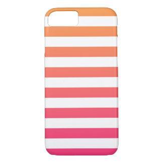Niedliche bunte Preppy orange rosa weiße Streifen iPhone 7 Hülle