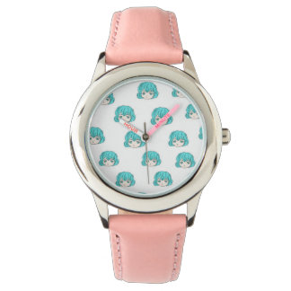 Niedliche Cartoon-Mädchen-Muster-Uhr Armbanduhr