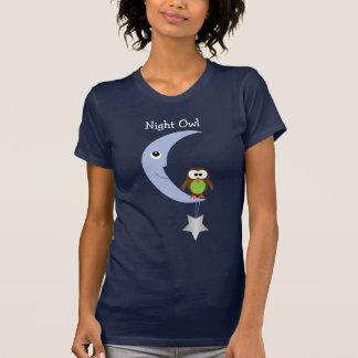 Niedliche Cartoon-Nachteule mit Mond u. Stern T-Shirt
