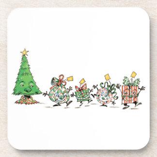 Niedliche Cartoon-Tanzen-Weihnachtsgeschenke und Getränkeuntersetzer