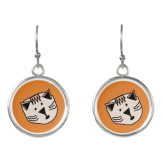Niedliche Cartoonkatzen auf farbigen B/G Ohrringen Ohrringe