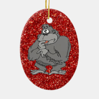 niedliche Cartoonverzierung des Gorillas Ovales Keramik Ornament