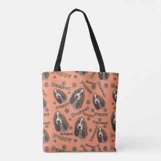 Niedliche Dachshund-Jagdhund-Tatze druckt Muster Tasche