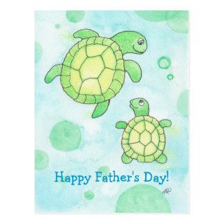 Niedliche der Vatertags-Postkarte Seeschildkröte-