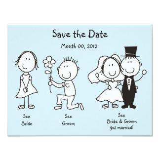 Niedliche Dick- und JaneSave the Date Karten 10,8 X 14 Cm Einladungskarte