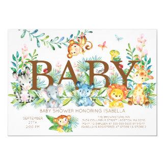 Niedliche Dschungel-Tier-neutrale Babydusche Karte
