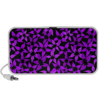 Niedliche dunkle lila Blumengekritzel-Lautsprecher Mobile Lautsprecher
