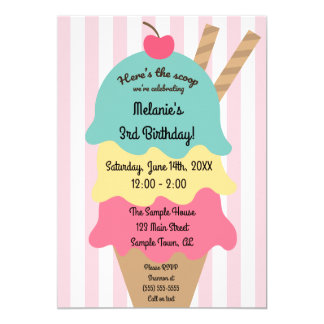 Niedliche Eiscreme-Geburtstags-Einladung Karte