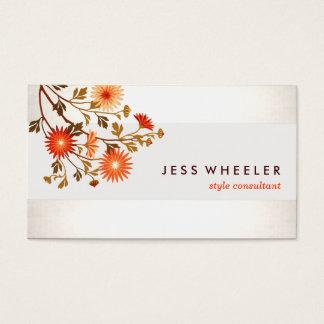 Niedliche elegante orange Wildblumen mit Blumen Visitenkarte