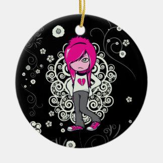 niedliche emo Mädchen-Wirbels-vektorillustration Keramik Ornament