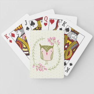 Niedliche Eulen-BlumenWreath und Herzen Spielkarten