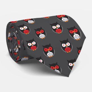 Niedliche Eulen mit Rotem, Weiß mustert Halloween Krawatten