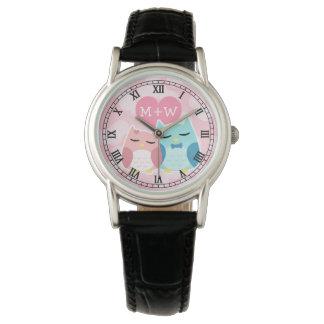 Niedliche Eulenpaare Armbanduhr
