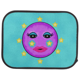 Niedliche Fantasie-lila Mond-Gesichts-Sterne Autofußmatte