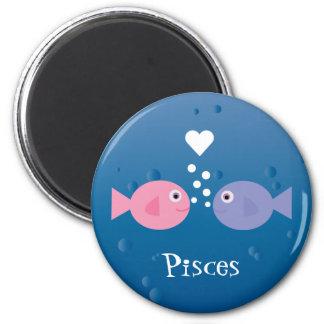 Niedliche Fische rosa u. blaue Runder Magnet 5,1 Cm