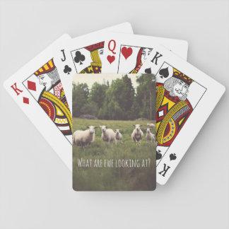 Niedliche flaumige weiße Schafe u. Lämmer im Spielkarten