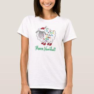 Niedliche Fleece Navidad Schafe mit T-Shirt