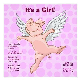 Niedliche Fliegen-Schwein-Baby-Duschen-Party Quadratische 13,3 Cm Einladungskarte