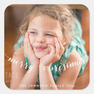 Niedliche Foto-frohe Weihnacht-Quadrat-Aufkleber Quadratischer Aufkleber