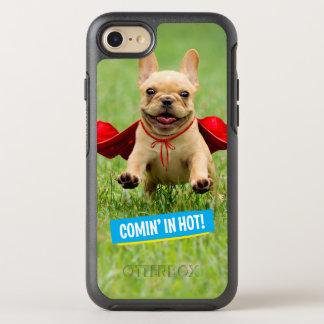 Niedliche französische Bulldoggesuperhero-Läufe im OtterBox Symmetry iPhone 8/7 Hülle