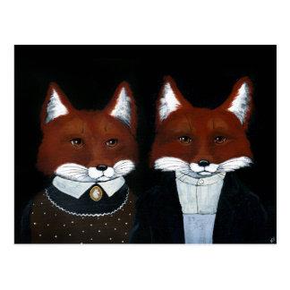 Niedliche Fuchs-Volkskunst, amerikanische gotische Postkarte