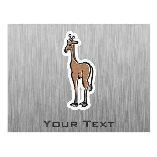 Niedliche Giraffe; Metall-Blick Postkarte