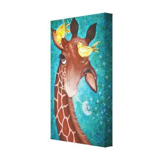Niedliche Giraffe mit dem Vogel-Malen Leinwanddruck