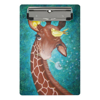 Niedliche Giraffe mit dem Vogel-Malen Mini Klemmbrett
