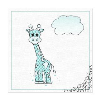 Niedliche Giraffe mit Herzen und Wolken Leinwanddruck
