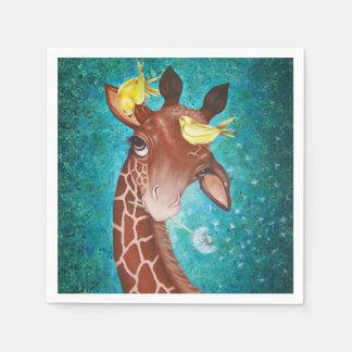 Niedliche Giraffe mit Vögeln Papierservietten