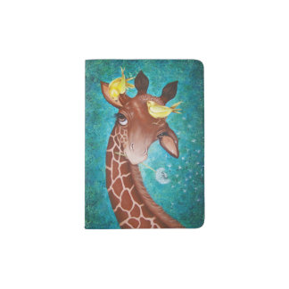 Niedliche Giraffe mit Vögeln Passhülle