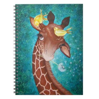 Niedliche Giraffe mit Vögeln Spiral Notizblock