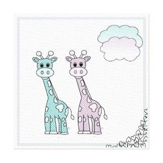 Niedliche Giraffen mit Herzen und Wolken Leinwanddruck