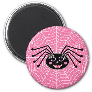 Niedliche Girlie Spinne auf Netz-Rosa Runder Magnet 5,1 Cm