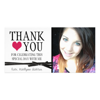 Niedliche Girly danken Ihnen mit Foto Fotokarten