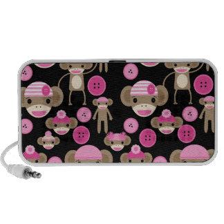 Niedliche Girly rosa Socke Monkeys Mädchen auf Sch Mini Speaker